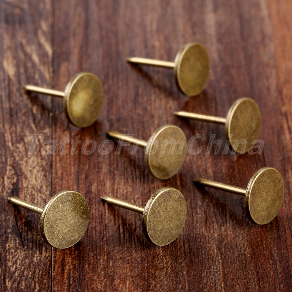 100X Hardware Decorative Upholstery Nails Antique Bronze Flat Studs Tacks
