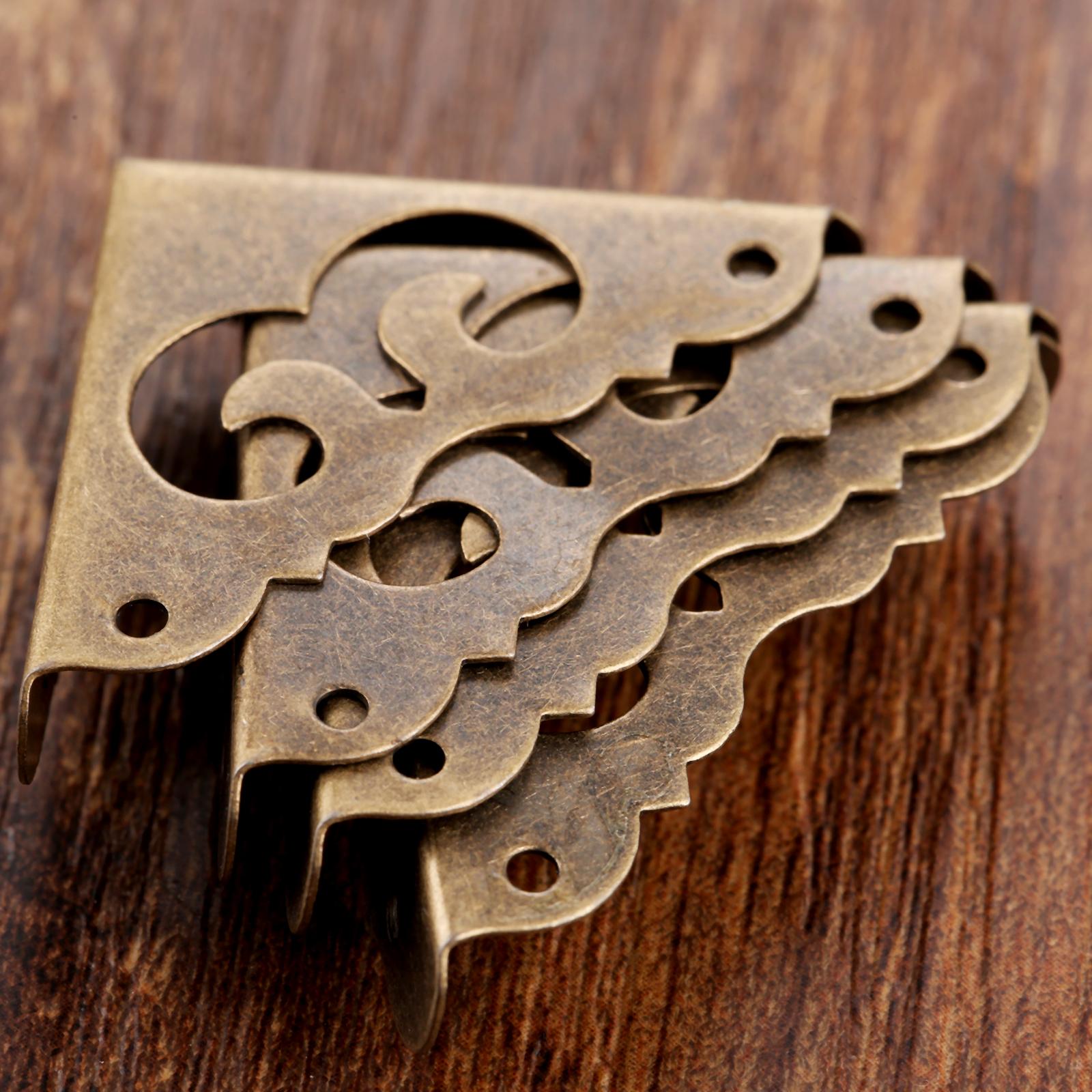 Decor Antique brass Jewelry Gift Box Wooden Corner Protector Guard Reuha